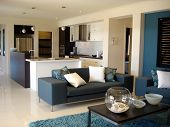 Lovely modern open plan living room and kitchen in stylish blue and white. poster