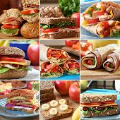 Collage of nutritious and colorful  mouthwatering sandwiches. poster