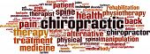 Chiropractic word cloud concept. Vector illustration on white poster