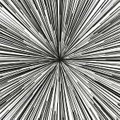 Explosive abstract rays. Dynamite burst blast vector background. Comic book black and white radial lines background. Manga speed frame.Superhero action. Explosion vector illustration. Square stamp poster