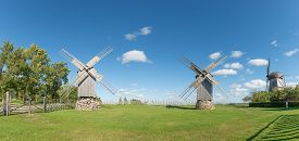Three wooden windmills in Angla, island of Saaremaa, Estonia.