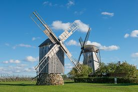 Traditional wooden windmills, island of Saaremaa, Estonia.