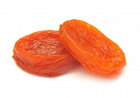 Dried apricots isolated on white background. Flat.