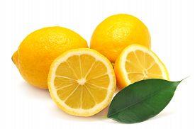 Lemon and leaf isolated on white background