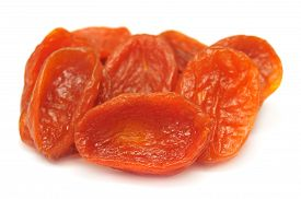 Dried apricots isolated on white background. Food.