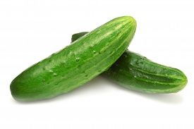 Cucumber isolated on white background. Green, flat.