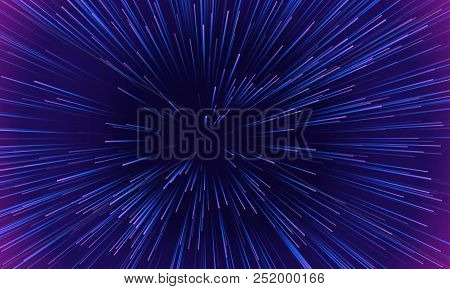 Space Speed Dynamic Motion Pattern Background. Vector Abstract Starburst Explosion Of Neon Light Ray