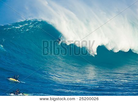 MAUI, HI - MARCH 13: Professional surfer Marcio Freire rides a giant wave at the legendary big wave surf break known as