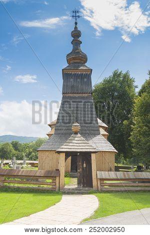 Slovakia, Prešovský Kraj, Ladomiroval, Wooden Greek-catholic Church, Unesco Site, Sunlit