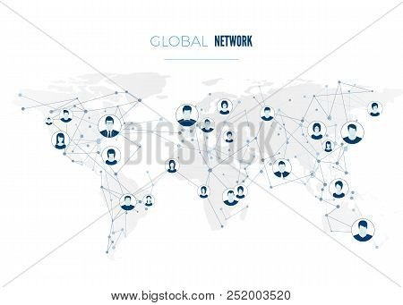 Global Social Network Connection. User Avatars Connected To The Worldwide Network. Internet Concept