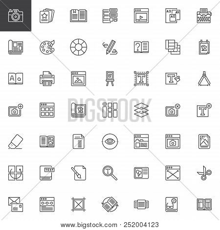 Editorial Elements Outline Icons Set. Linear Style Symbols Collection, Line Signs Pack. Vector Graph
