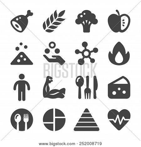 Nutrition And Food Icon Set Vector And Illustration