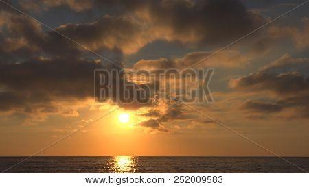 Sunset Beach, Sunrise on Seashore, Ocean at Sundown in Summer, Twilight Seascape poster