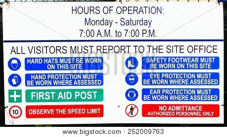 Construction Hours Of Operation And Hard Hat, First Aid Speed Limit,safety Equipment, Eye Protection