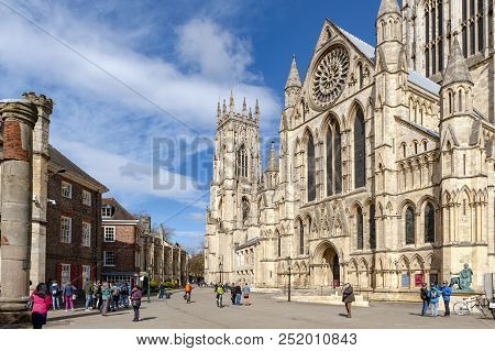 York, England - April 2018: York Minster, The Historic Cathedral Built In English Gothic Architectur