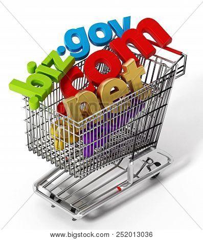 Domain Names Inside Shopping Cart. 3d Illustration.