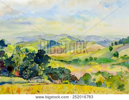 Watercolor Landscape Painting Colorful Of Mountain Range With Cottage In Panorama View And Emotion R