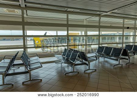Airport Waiting Room With Empty Seats. Stock Photo.