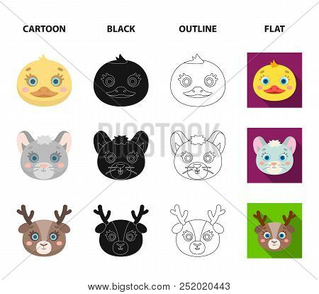 Bear, Duck, Mouse, Deer. Animal Muzzle Set Collection Icons In Cartoon, Black, Outline, Flat Style V