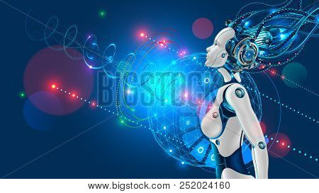 Female Humanoid Robot Or Cyborg With Artificial Intelligence Sideways. Head Of Machine Is Connected