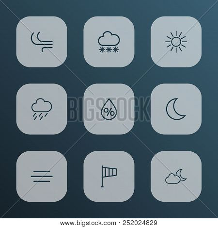 Climate Icons Line Style Set With Breeze, Snowfall, Rainstorm And Other Moon Elements. Isolated Vect
