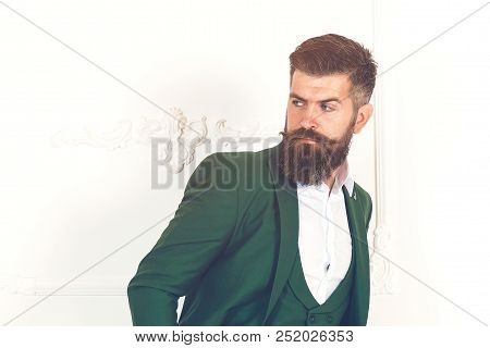 Half Length Portrait Of A Young Serious Men Entrepreneur Dressed In Luxury Clothes, Managing Directo