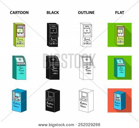 Cash Machine For Cash, Terminal For Payment, Ticket Machine. Terminals Set Collection Icons In Carto