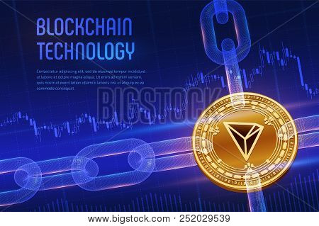 Tron. Crypto Currency. Block Chain. 3d Isometric Physical Golden Tron Coin With Wireframe Chain On B