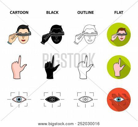 Virtual, Reality, Helmet, Computer, Technology, .virtual Reality Set Collection Icons In Cartoon, Bl