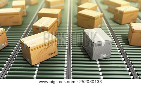 Modern Packages Delivery Packaging Service And Parcels Transportation System Concept Loss Of Parcel
