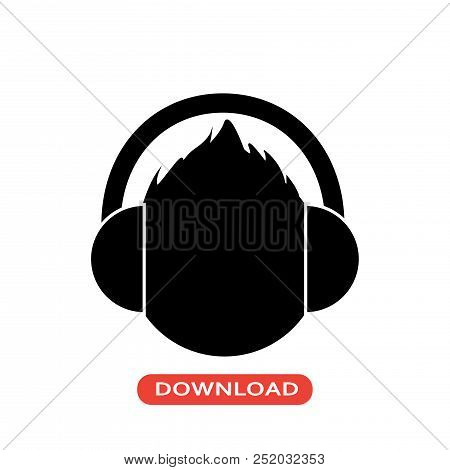 Male Head With Headphones Vector Icon Flat Style Illustration For Web, Mobile, Logo, Application And