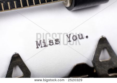 Typewriter close up shot concept of Miss You poster