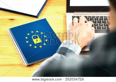 Gdpr (general Data Protection Regulation) Concept. Business Man Typing An Email With Laptop. Noteboo