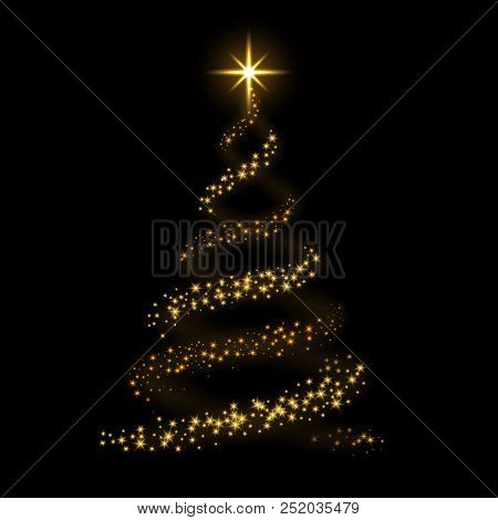 Christmas Tree Card Background. Gold Christmas Tree As Symbol Of Happy New Year, Merry Christmas Hol