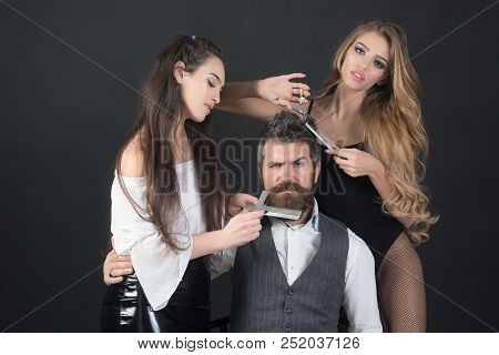Love Relations, Friendship. Love And Relations People. Hairdresser Concept
