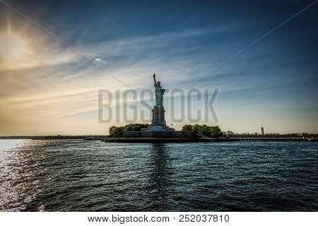 A Side View Of The Statue Of Liberty From The Upper Bay Of New York.