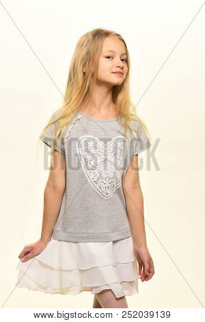 Charming Kid. Charming Kid With Long Blond Hair. Charming Kid Isolated On White. Charming Kid In Fas