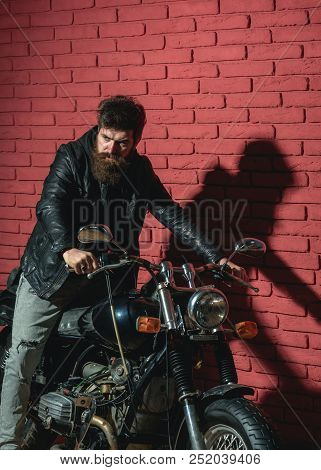 Traveling. Man Traveling By Motorcycle. Traveling And Wanderlust. Biker Likes Traveling And Adventur