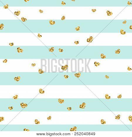Gold Heart Seamless Pattern. Blue-white Geometric Stripes, Golden Confetti-hearts. Symbol Of Love, V