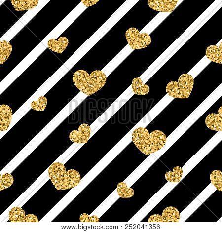 Gold Heart Seamless Pattern. Black-white Geometric Stripes, Golden Confetti-hearts. Symbol Of Love,
