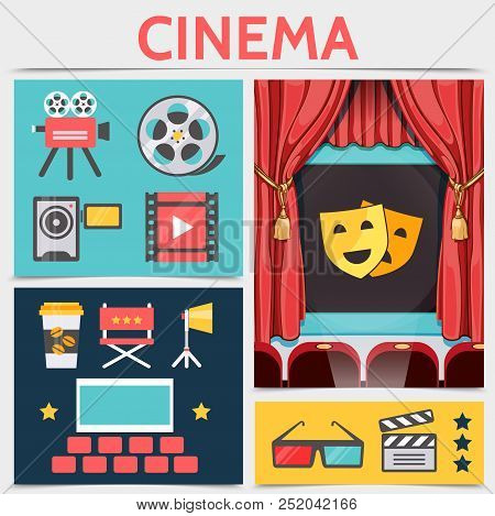 Flat Cinematography Icons Composition With Movie Camera Film Reel Filmstrip Coffee Director Chair Pr