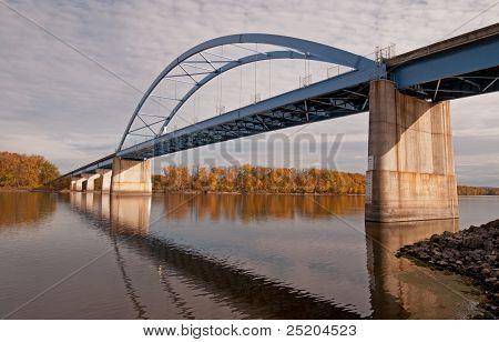 Blue bridge over Mississippi River