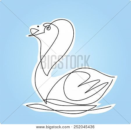 Swan In The Lake.  Simple Line Drawing Of Swan Swimming In The Lake.
