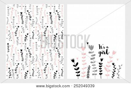 Hand Drawn Infantile Floral Vector Illustrations Set. Pink, Grey And Black Flowers On A White Backgr