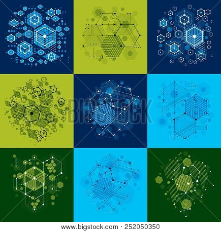Bauhaus art composition. Set of decorative modular vector backdrop with circles and hexagons. Retro style patterns collection, graphic backdrops for use as booklet cover templates. poster