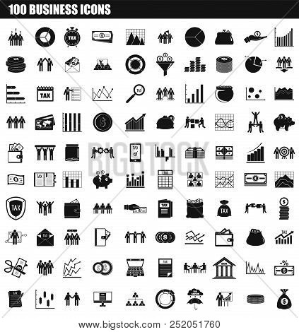 100 Business Icon Set. Simple Set Of 100 Business Vector Icons For Web Design Isolated On White Back