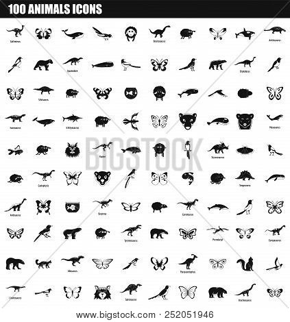 100 Animals Icon Set. Simple Set Of 100 Animals Vector Icons For Web Design Isolated On White Backgr