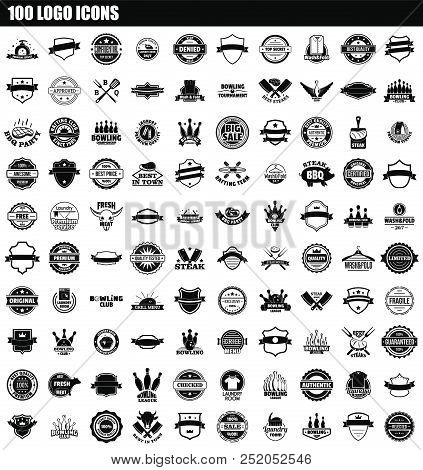 100 Logo Icon Set. Simple Set Of 100 Logo Vector Icons For Web Design Isolated On White Background