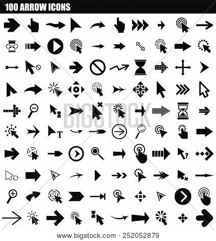 100 Arrow Icon Set. Simple Set Of 100 Arrow Vector Icons For Web Design Isolated On White Background