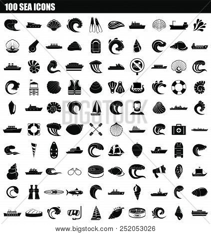 100 Sea Icon Set. Simple Set Of 100 Sea Vector Icons For Web Design Isolated On White Background